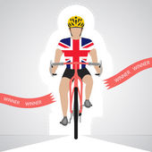 Britischer Radrennfahrer isoliert vor Ansicht überqueren rote Ziellinie Vektor — Stockvektor