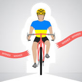 Ukrainian cyclist in front view crossing red finish line vector isolated — Stock Vector