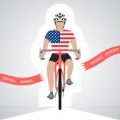 USA cyclist in front view crossing red finish line vector isolated — Stock Vector