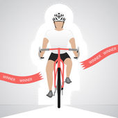 White dressed cyclist in front view crossing red finish line vector isolated — Stock Vector