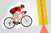 Albanian cyclist riding upwards to finish line vector isolated — Stock Vector