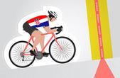 Croatian cyclist riding upwards to finish line vector isolated — Stock Vector