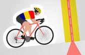 Romanian cyclist riding upwards to finish line vector isolated — Stock Vector