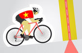 Vietnamese cyclist riding upwards to finish line vector isolated — Stock Vector