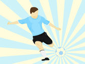 Blue dress soccer player shooting on striped background vector — Stock Vector