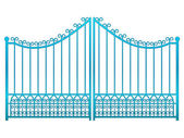 Isolated closed blue iron gate fence vector — Stock Vector