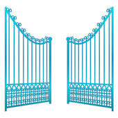 Isolé sur blanc ouvert vecteur de clôture porte de fer — Vecteur