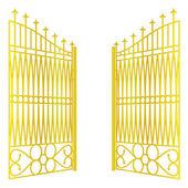 Na białym tle otwarty złotej bramy ogrodzenia na biały wektor — Wektor stockowy