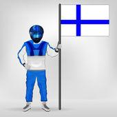 Standing racer holding Finnish flag vector — Stock Vector
