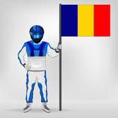 Staande racer houden roemeense vlag vector — Stockvector
