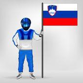 Standing racer holding Slovenian flag vector — Stock Vector