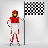 Red overall standing racer holding checked flag vector — Stock Vector