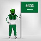 Standing racer holding Saudi Arabia flag vector — Stock Vector