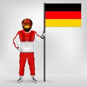 Stehende Racer holding Deutschland Flagge Vektor — Stockvektor
