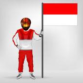Monako bayrağı vektör holding ayakta racer — Stok Vektör