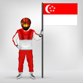 Standing racer holding Singaporean flag vector — Stock Vector