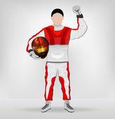 Kask ile vektör elini tutarak ayakta racer — Stok Vektör