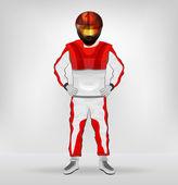 Standing racer in helmet with hands on waist vector — Vecteur