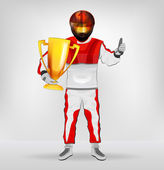 Standing racer in helmet holding cup with thumb up vector — Stock Vector
