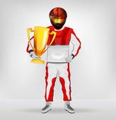 Standing racer in helmet holding cup with hand on waist vector — Vecteur