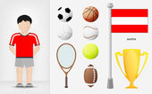 Austrian sportsman with sport equipment collection vector — Stock Vector