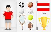 Austrian sportsman with sport equipment collection vector — Stock Vector