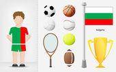 болгарский спортсмен с вектором коллекции спортивного оборудования — Cтоковый вектор