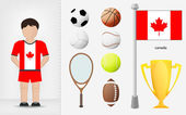 Canadian sportsman with sport equipment collection vector — Stock Vector