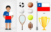 Chilean sportsman with sport equipment collection vector — Stock Vector