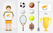 Cypriot sportsman with sport equipment collection vector — Stock Vector