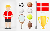 Danish sportsman with sport equipment collection vector — Stock Vector