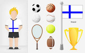 Finnish sportsman with sport equipment collection vector — Stock Vector