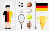 German sportsman with sport equipment collection vector — Stock Vector