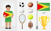 Guyanese sportsman with sport equipment collection vector — Stock Vector