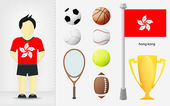 Hong Kong sportsman with sport equipment collection vector — Vector de stock