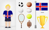 Icelandic sportsman with sport equipment collection vector — Stock Vector
