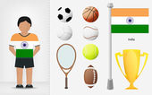 Indian sportsman with sport equipment collection vector — Stock Vector