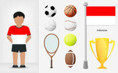 Indonesian sportsman with sport equipment collection vector — Stock Vector