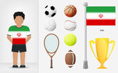 Iranian sportsman with sport equipment collection vector — Stock Vector