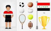 伊拉克运动员与体育设备集合矢量 — 图库矢量图片