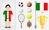 итальянский спортсмен с вектором коллекции спортивного оборудования — Cтоковый вектор
