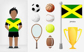 Jamaican sportsman with sport equipment collection vector — Stock Vector
