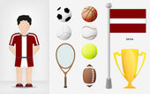 Latvian sportsman with sport equipment collection vector — Stock Vector