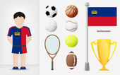 Liechtenstein sportsman with sport equipment collection vector — Stock Vector