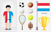 Luxembourg sportsman with sport equipment collection vector — Stock Vector