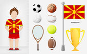 Macedonia sportsman with sport equipment collection vector — Stock Vector