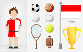 Monaco sportsman with sport equipment collection vector — Stock Vector