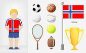 Norwegian sportsman with sport equipment collection vector — Stock Vector