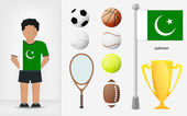 Pakistani sportsman with sport equipment collection vector — Stock Vector
