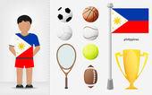 Filippinska sportsman med sport utrustning samling vektor — Stockvektor